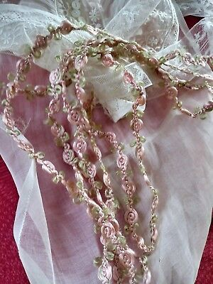"""SILK. Roses !! French Antique 3/8"""" wide pink ribbon trim"""