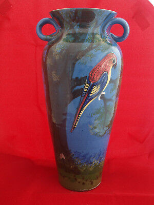 EXTRA LARGE TORQUAY POTTERY 3 HANDLED BLUE PARROT VASE 12 inches HIGH