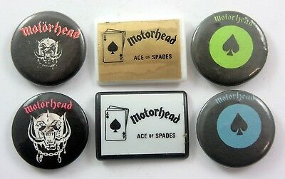MOTORHEAD BADGES 6 x Vintage Motorhead Pin Badges * Lemmy * Metal *