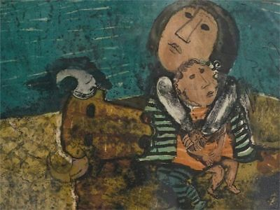 Graciela Rodo Boulanger Mother & Child On Bull Signed Numbered Etching Aquatint