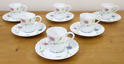 Haviland Limoges Coffee Cups & Saucers x 6 - Pink & Blue Flowers - VGC
