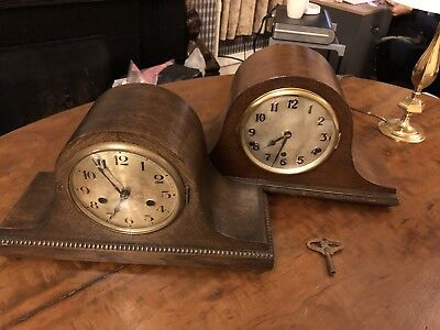 2 X Vintage Napoleon Hat Mantle Clocks One With Westminster Chime