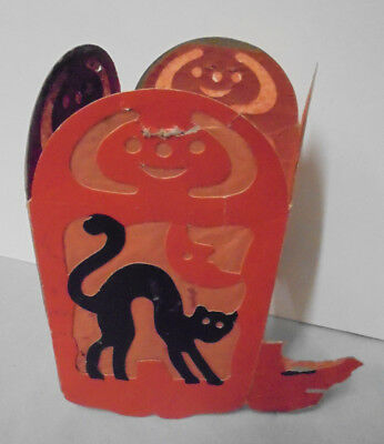 """Paper 4 Sided Lantern, Devil, Witch, Owl, Cat, .5"""" Tall, 3.5"""" Across, Vintage"""
