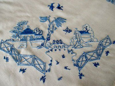 Vintage Tablecloth Hand Embroidered Willow Pattern-Unused