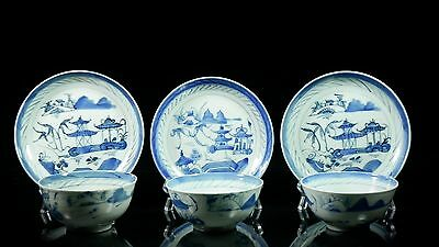 3 19th C Chinese Canton Cups Bowls & Saucers Rice Tea #88
