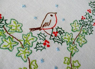 Vintage Christmas Tablecloth-Robins/holly/ivy-Hand Embroidered-Linen