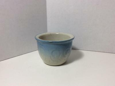 Antique / Vintage Blue and White Stoneware Custard Cup, Molded Scroll Pattern