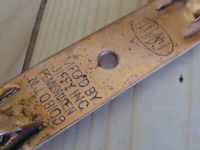 Vintage Collectible Jiffy Bottle Can Opener Piercer - Pennsauken New Jersey