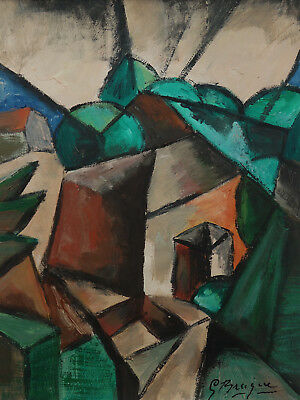 Very rare find, Fine Cubist unique oil Landscape painting, Antique