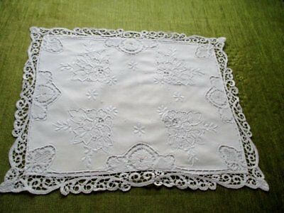 Vintage Cushion Cover-Hand Embroidery & Tape Lace Decoration