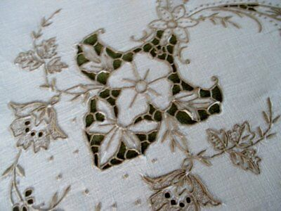 """ANTIQUE MADEIRA TABLECLOTH-HAND EMBROIDERED ECRU-42""""sq."""