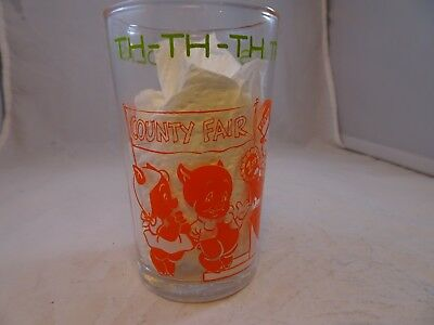 "Vintage 1974 ""Th TH TH THats All Folks"" Warner Brothers Juice Jam Jelly Glass"