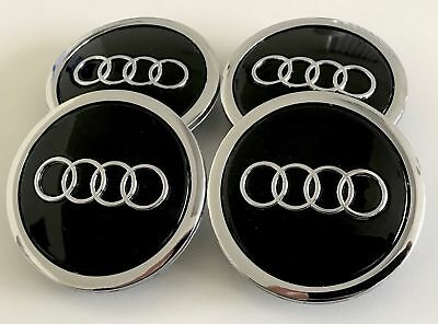Black Wheel Caps for Audi 4x 68mm Center Emblem Logo A1 A4 A5 A6 A7 A8 Q3d Q5 Q7