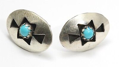 Vintage Navajo Sterling Silver Small Blue Turquoise Shadowbox Post Stud Earrings