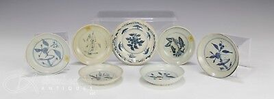 Lot Of Seven Antique Chinese Blue And White Plates Dishes - Ming Dynasty