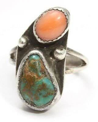 Vintage Navajo Sterling Silver SMALL Old Pawn Turquoise Red Coral Ring Sz4.5