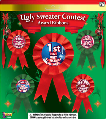"Forum Ugly Sweater Contest 5pc 3.5""-6"" Award Ribbon, Red Green"