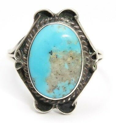 Vintage Navajo SIGNED Sterling Silver Small Ornate Blue Turquoise Ring Sz7.25