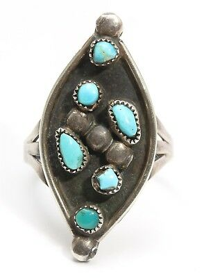 Vintage Zuni Sterling Silver Small Petitpoint Turquoise Floral Column Ring Sz7