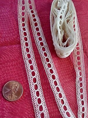 French Antique Lace SLOTTED Val very fine Trim   almost 3 yards  insertion