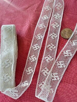 .75 French Antique Lace FIGURAL Swastika Val Trim  almost 3 yards insertion