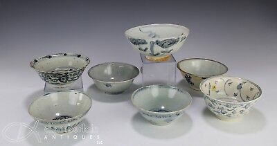 Lot Of Seven Antique Chinese Blue White Bowls Of Various Design - Ming Dynasty