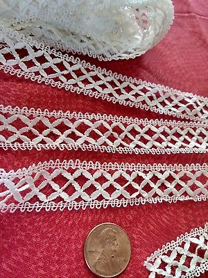 """French Antique Lace CLUNY Bobbin Val very fine Trim  3 yards +26""""  insertion"""