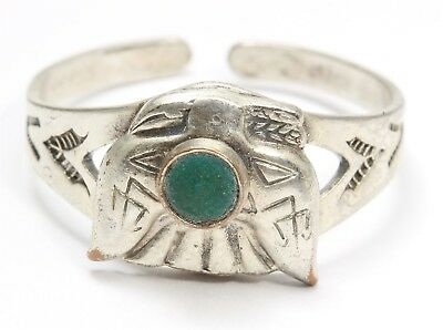 Vintage Navajo Nickel Silver Copper Harvey Stamped Turquoise Thunderbird Ring