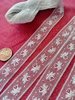 Floral French Antique Lace Valencienne Val very fine Trim  8 yards   insertion