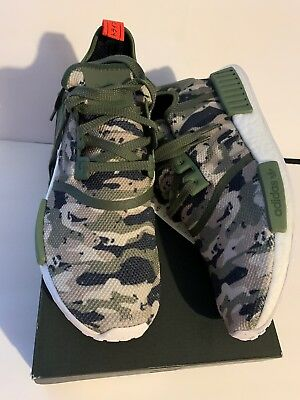 34329fd95c34d Adidas NMD R1 Camo Pack G27914 Green Silver Red Boost Running Shoes Size  11.5