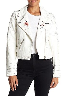 New BLANKNYC Stud Floral Moto Faux Leather Jacket Full Bloom White $188
