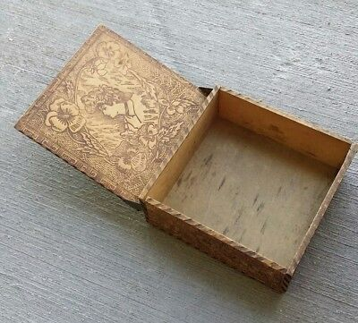 Vintage handmade box with Pyro graphic decoration and Wizard hinges