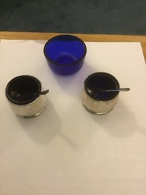 2 Silver Salts With Blue Liners , 2 Spoons and A Spare Liner
