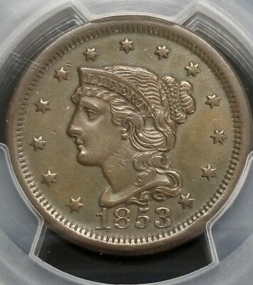 1853 Braided Hair Large Cent  **PCGS XF DETAILS** SC4415