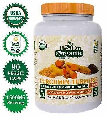 Be On Organic Turmeric Curcumin With Ginger 1500mg Pain Relief & Joint Support