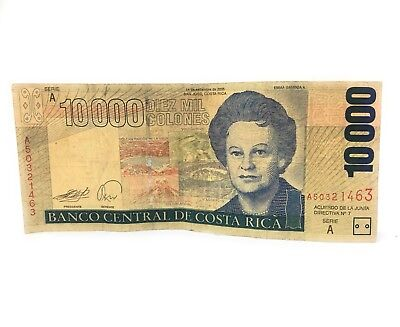 🌟(1 Note) Costa Rica 10,000 Colones Circulated Banknote, Currency, Emma Gamboa