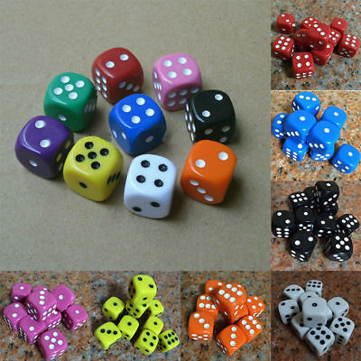 For D&D RPG Dices 6 Sided Game Dice Play Gift Board Xmas Bar Party 16mm Spot D6