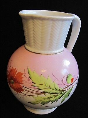 Antique 1850-1890 Victorian LARGE WATER PITCHER white pink hand painted 11 1/2""