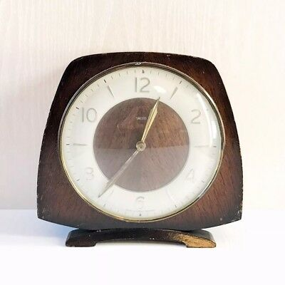 Vintage wooden chiming mantel shelf clock Smiths Wind Up Mechanical Clock