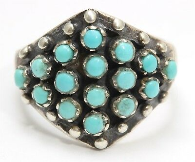 Vintage Zuni Sterling Silver Small Blue Snake Eyes Turquoise Cluster Band Ring