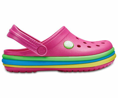 NEW Genuine Crocs Girls CB Rainbow Band Clog K Paradise Pink