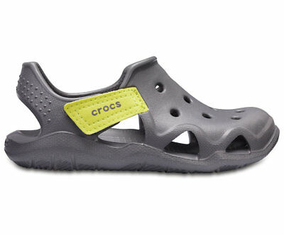 NEW Genuine Crocs Kids - Boys Swiftwater Wave K Slate Grey/Tennis Ball Green