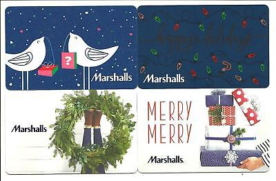 Lot of 4 Marshalls Holiday Gift Cards No $ Value Collectible Wreath Birds Lights