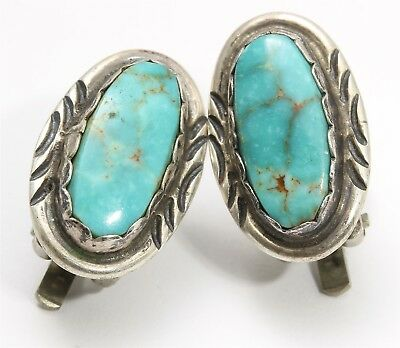 Vintage Navajo Sterling Silver Small Spiderweb Blue Green Turquoise Earrings