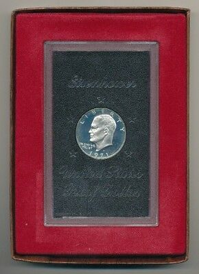 1971-S Eisenhower Ike Proof 40% Silver Dollar In Brown Box - Free Shipping