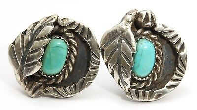 Vintage Navajo Sterling Silver Small Stamped Turquoise Floral Leaf Post Earrings