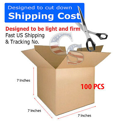 100 7x7x7 Cardboard Shipping Boxes Cartons Packing Moving Mailing Box