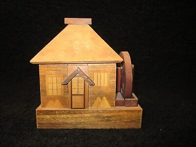 "Vintage - Japan - Inlaid Wood Marquetry - 6"" Puzzle Box House Bank Wooden"