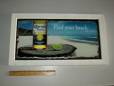 NEW Corona Extra Bottle Beach Find Your Beach Mirror beer sign Man Cave Reflect