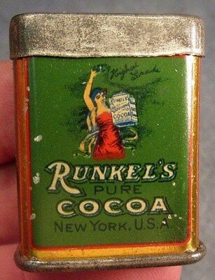 ANTIQUE ca 1910 VERY RARE VERY NICE SMALL RUNKEL'S COCOA SAMPLE TIN
